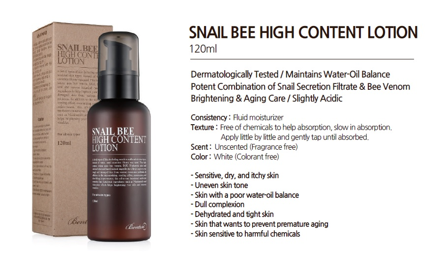 SNAIL BEE HIGH CONTENT LOTION is tested under dermatological control. Snail Secretion Filtrate, Bee Venom, sh-Oligopeptide-1, Hyaluronic Acid,